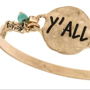 """Jewelry - """"Y'All"""" etched disk bangle bracelet - Gold"""